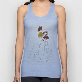 Colorful Thoughts Minimal Line Art Woman with Flowers Unisex Tank Top