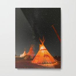 Teepees under the Milky Way Metal Print
