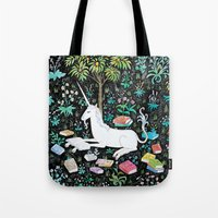 Tote Bags featuring The Unicorn is Reading by steph terao