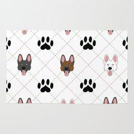 3 German Shepherd Colors Paw Print Pattern Rug
