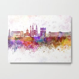 San Salvador skyline in watercolor background Metal Print