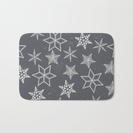 Snowflakes on grey background Bath Mat