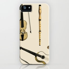 Musik (1850) published in Copenhagen, a vintage illustration of a violin, classical guitar and flute iPhone Case