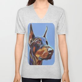 Blue Doberman Unisex V-Neck