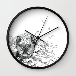 Pug in the Leaves Wall Clock