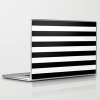 stripe Laptop & iPad Skins featuring Stripe Black & White Horizontal by Beautiful Homes