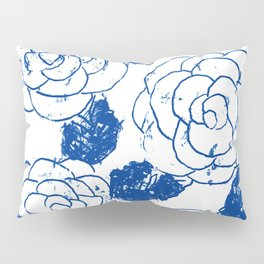 Blue blockprint roses Pillow Sham