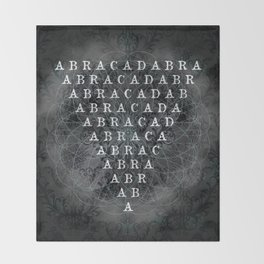 Abracadabra Reversed Pyramid in Charcoal Black Throw Blanket