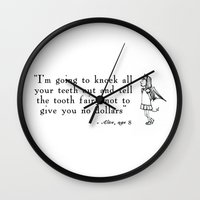 evil Wall Clocks featuring Evil by Kelly Is Nice