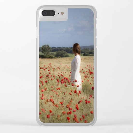 Waiting in the field Clear iPhone Case