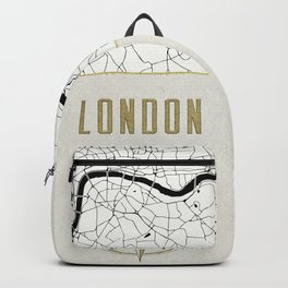 London - Vintage Map and Location Backpack