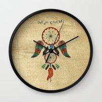 dream catcher Wall Clocks featuring DREAM CATCHER by Heaven7