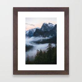 Three Brothers at Sunrise | Yosemite National Park, CA Framed Art Print