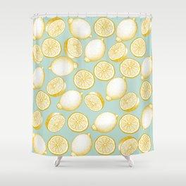 Lemons On Turquoise Background Shower Curtain