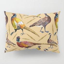 Vintage brown orange colorful pheasant birds pattern Pillow Sham