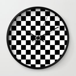 Race Flag Black and White Checkerboard Wall Clock