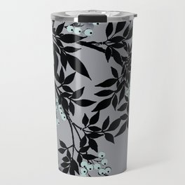 TREE BRANCHES BLACK AND GRAY WITH BLUE BERRIES Travel Mug