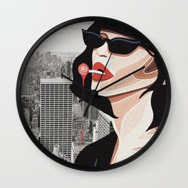 """Kiss My Soul"" Illustration & Photo Collage Wall Clock"