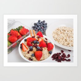 Oatmeal with Blueberries Strawberries Cranberries and Cinnamon Art Print