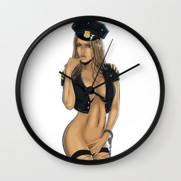 police cop feds boobs girl chick sexy hot nasty tits nude naked bed mouth skirt hair wow Wall Clock