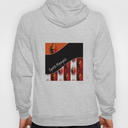 Bright colorful abstract pattern in red and black colours . Patchwork . Hoody