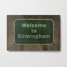 Welcome to Birmingham roadside sign illustration Metal Print
