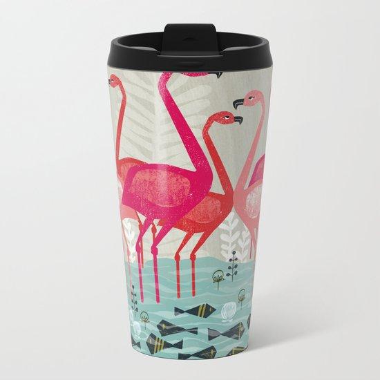 Flamingos by Andrea Lauren  Metal Travel Mug