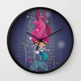 Mermaid with a pearl Wall Clock