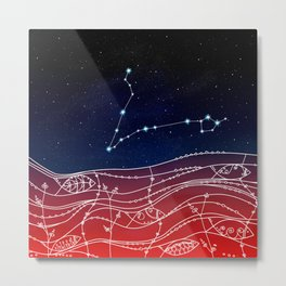 Pisces Constellation Design Metal Print
