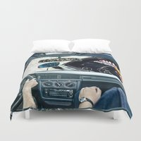 drive Duvet Covers featuring DRIVE by marzesu collages