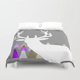 Deer Head Geometric Triangles | purple grey Duvet Cover