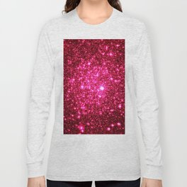Hot Pink Glitter Galaxy Stars Long Sleeve T-shirt