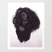 hermione Art Prints featuring Hermione by Alexander Scott