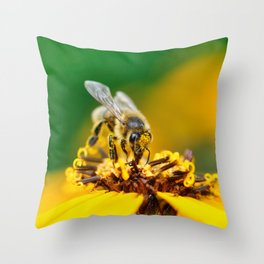 A bee on the flower Throw Pillow