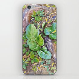 ground beneath my feet in summer: roots, grass, leaves iPhone Skin