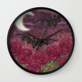 bats and roses Wall Clock