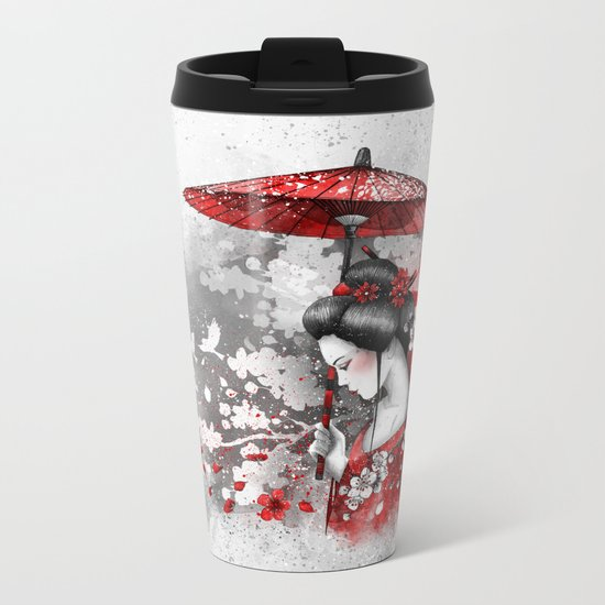 Falling blossoms Metal Travel Mug