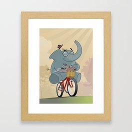 Mr. Elephant & Mr. Mouse 'Bicycle' Framed Art Print