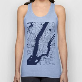 New York City White on Navy Unisex Tank Top