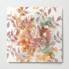Watercolor autum foliage Metal Print