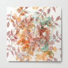 Watercolor autum foliage Metal Print