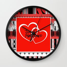 just Married Hearts red pattern II Wall Clock