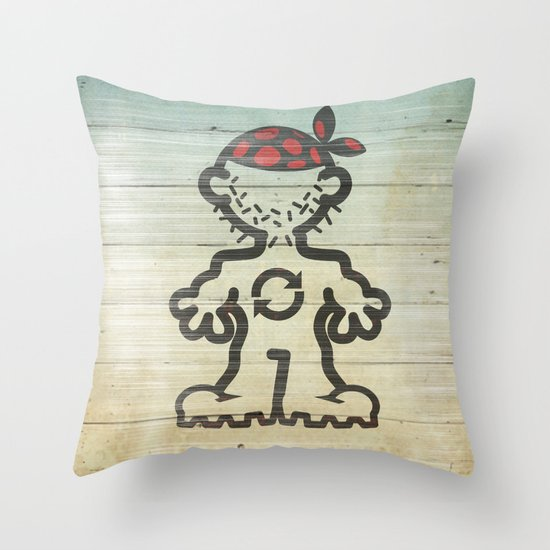 upcycle pirate Throw Pillow