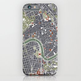 Rome city map engraving iPhone Case
