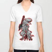 metal gear V-neck T-shirts featuring Metal Gear T.REX by MeleeNinja
