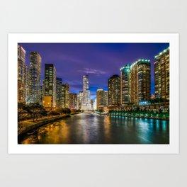Chicago Illinois at night Art Print