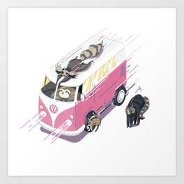Hippie pink bus Art Print