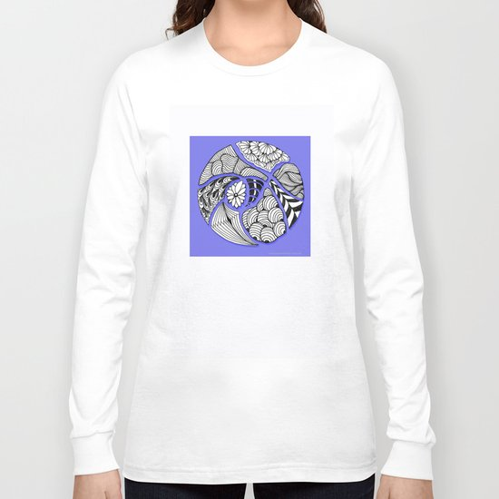 Zentangle Design - Black, White and Purple Illustration Long Sleeve T-shirt