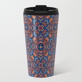 Bright Blue and Orange Beadwork Inspired Pattern Travel Mug
