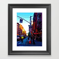 Sun Goes Down  in the City Framed Art Print